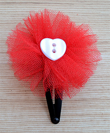 Pretty Ponytails Heart Design Hair Clip - Red