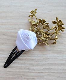 Pretty Ponytails Rose & Glitter Finish Leaves Design Hair Clip - White