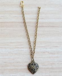 Pretty Ponytails Floral Designed Heart Bracelet - Golden