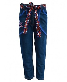Gron - Embroidered Denim Jeans With Belt