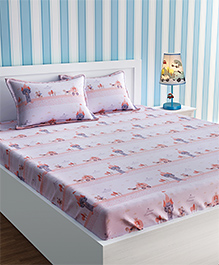 Urban Dream Double Bedsheet With Pillow Cover Set Princess Castle Print - Orange White