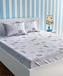 Urban Dream Bed Sheet With Pillow Cover Set Animal Print - White Blue