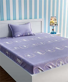Urban Dream Bed Sheet With Pillow Cover Set Abstract Print - Purple