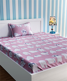 Urban Dream Bed Sheet With Pillow Cover Set Polar Bear Print - Pink & White