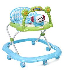 Musical Baby Walker Cartoon Face Design - Light Blue Green