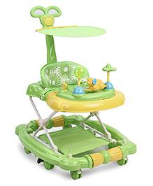 Musical Baby Walker Cum Rocker With Push Handle Elephant Design - Green Yellow