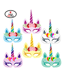 Party Propz Unicorn Mask Multicolor - Pack Of 12