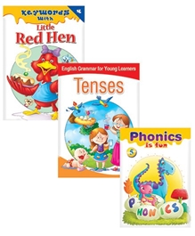 Macaw Pack Of 3 Books - Keywords With Little Red Hen - English Grammar For Young Learners Tenses - Phonics Is Fun