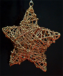 Christmas Tree Decoration Rose Gold Wire And Bead Christmas Star Hanging Ornaments- Set Of 2 Pc