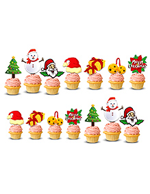 Party Propz Christmas Cup Cake Toper - Pack Of 14