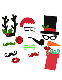 Party Propz Christmas Photo Booth Props - 17 Pieces