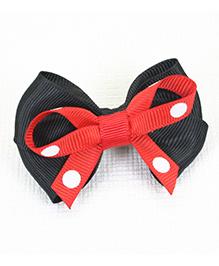 Asthetika Polka Dot Bow Design Hair Clip - Black & Red