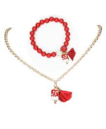 Asthetika Red Popsicle Necklace & Bracelet Set - Red
