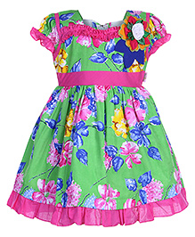 Baby Hug - Cap Sleeves Frock With Ruffles