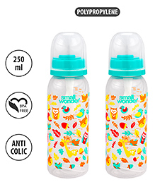 Small Wonder Polypropylene Feeding Bottle Pack Of 2 Sea Green - 250 Ml Each