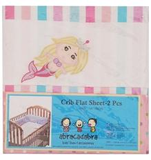 Abracadabra -  Set of 2 Mermaid Print Crib Flat Sheets