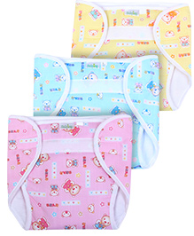 Babyhug Velcro Nappy Teddy Bear Print Large -  Set Of 3