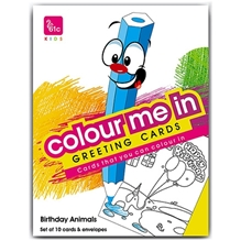61c - Colour Me In Greeting Cards Birthday Animals Pack