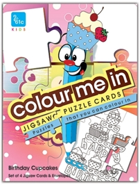 61c - Colour Me In Jigsaw Puzzle Cards Cupcakes Theme