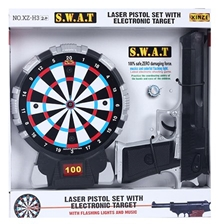 Fab N Funky - Black Swat Laser Pistol Gun Toy Set With Target