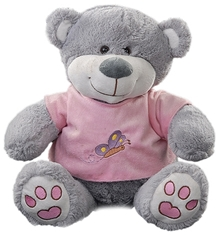 Play N Pets - Grey Teddy Bear With Pink T Shirt