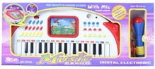 White Digital Electronic Music Piano With Blue Microphone 3 Years+, 31 keys digital electronic keyboard is designed for beginners...