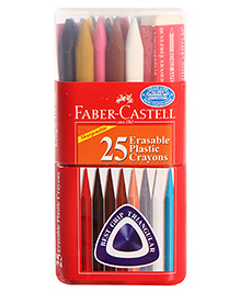 Faber Castell 25 Erasable Plastic Crayons With Free Eraser