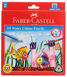Faber Castell 24 Water Colour Pencils 24 Shades, Free Paint Brush,  Pigments Dissolve Completely When Brushed...