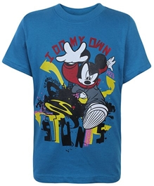 Disney - Blue Mickey Print T-Shirt