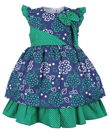 Baby Hug - Cap Sleeves Tiered Frock With Bow