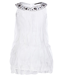 Gini & Jony Sleeveless Top With Studded Scoop Neck - White
