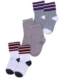 Cute Walk - Strip Print Set Of 3 Socks
