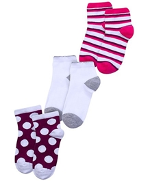 Cute Walk - Printed Set Of 3 Socks