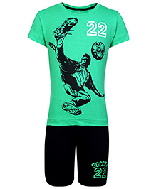 Palm Tree Half Sleeves T-Shirt And Shorts Soccer Print - Green