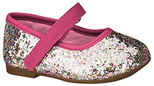 Elefantastik Ballerina with Glitter Effect and Velcro Closure - Pink and Silver