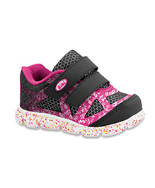 Elefantastik Sneakers with Dual Velcro Strap - Pink and Black
