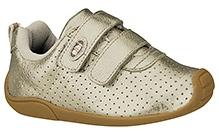 Elefantastik Sneakers with Dual Velcro Strap - White Gold