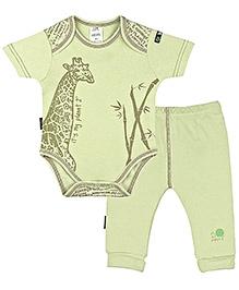 Kushies Baby - Green Onesies And Pant Set