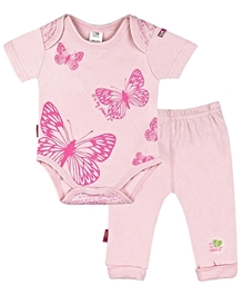 Kushies Baby - Butterfly Print Onesies And Pant Set