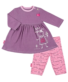 Kushies Baby - Frock With Printed Leggings Set