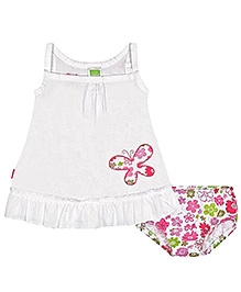 Kushies Baby Singlet Butterfly Print Dress With Bloomer