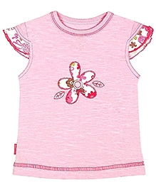 Kushies Baby Cap Sleeves Pink Top - Floral Patch Work
