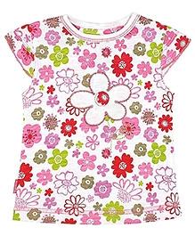 Kushies Baby Cap Sleeves Floral Print Top - Pink