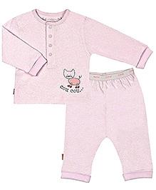 Kushies Baby Full Sleeves Cat Print T Shirt And Legging - Pink