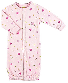 Kushies Baby Full Sleeves Convertible Gown - Pink