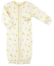 Kushies Baby Full Sleeves Convertible Gown - Yellow