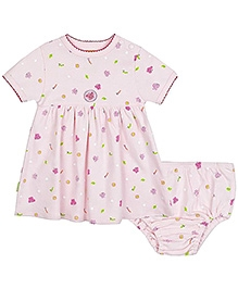 Kushies Baby Short Sleeves Frock With Bloomer - Butterfly Print
