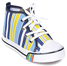 Cute Walk - Stripes Print Lace Up Canvas Shoes