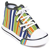 Cute Walk - Stripes Print Lace Up Canvas Shoes