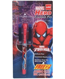 Cello - Marvel Hero Fountain Pen Blue With 2 Free Ink Cartridge - Blue